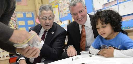 Mayor Bill de Blasio and Assembly Speaker Sheldon