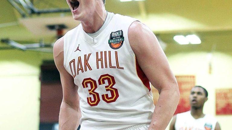 Oak Hill Academy's Rokas Gustys lets out a