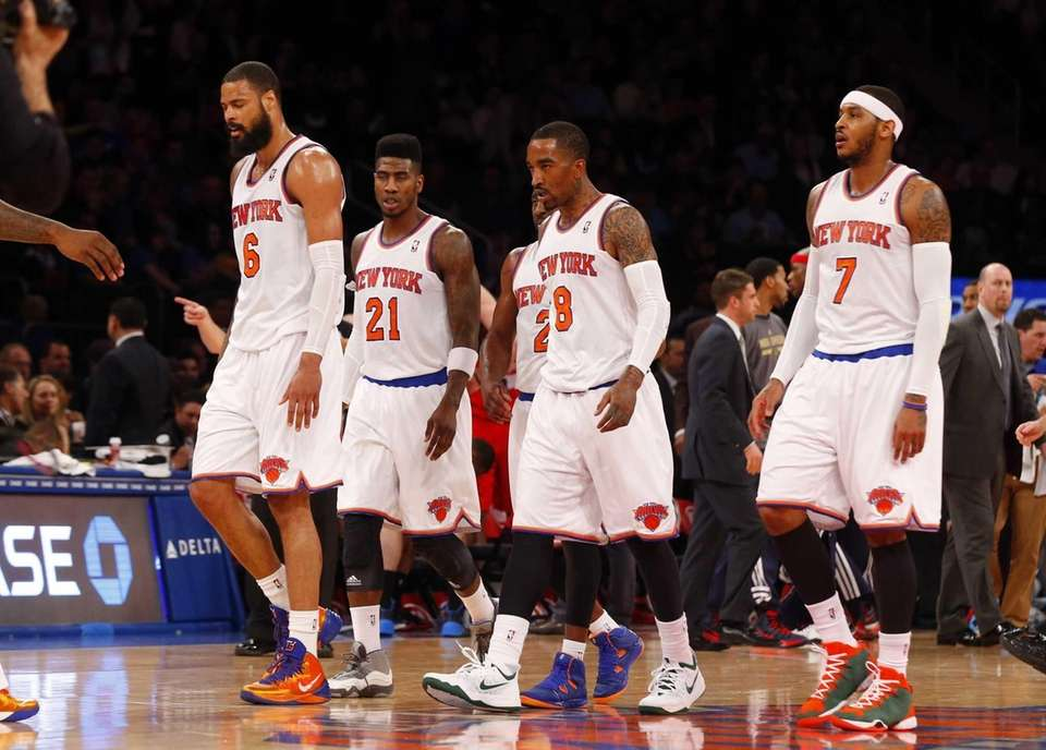Tyson Chandler, Iman Shumpert, J.R. Smith and Carmelo