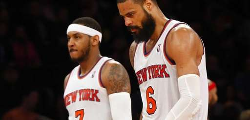 Tyson Chandler and Carmelo Anthony of the Knicks