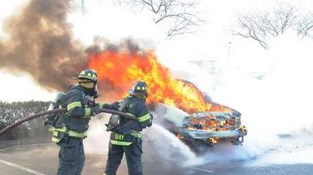 North Amityville firefighters extinguished a vehicle fire Saturday,