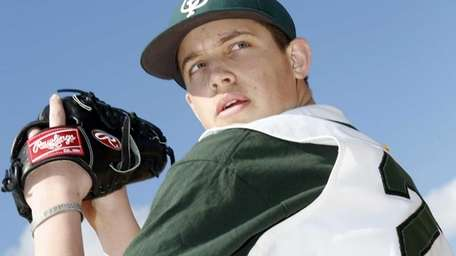 Carle Place pitcher Mike Delio shown on Saturday,