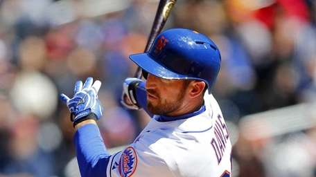 Ike Davis doubles in the second inning against
