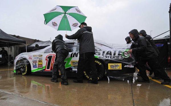 Kyle Busch's crew rolls his car during set