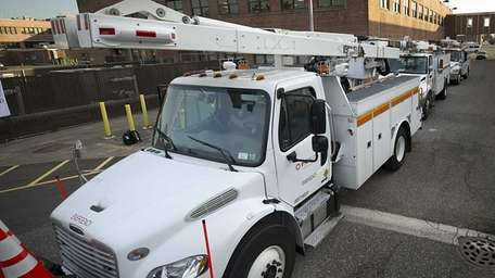 PSEG service trucks come out from the service