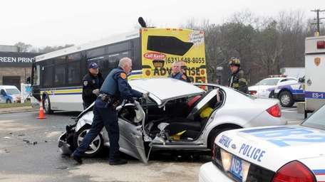 Officers at the scene of crash involving a