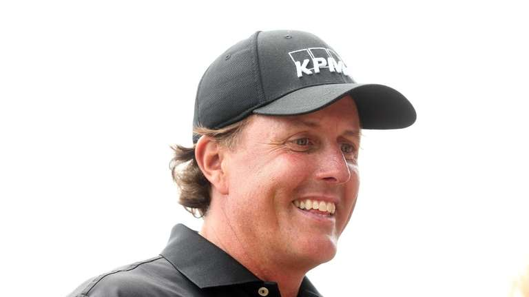 Phil Mickelson is seen during a practice round