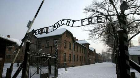 The gate at the former Nazi death camp