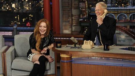 Lindsay Lohan and David Letterman give a call