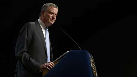 Mayor Bill de Blasio delivers remarks in the