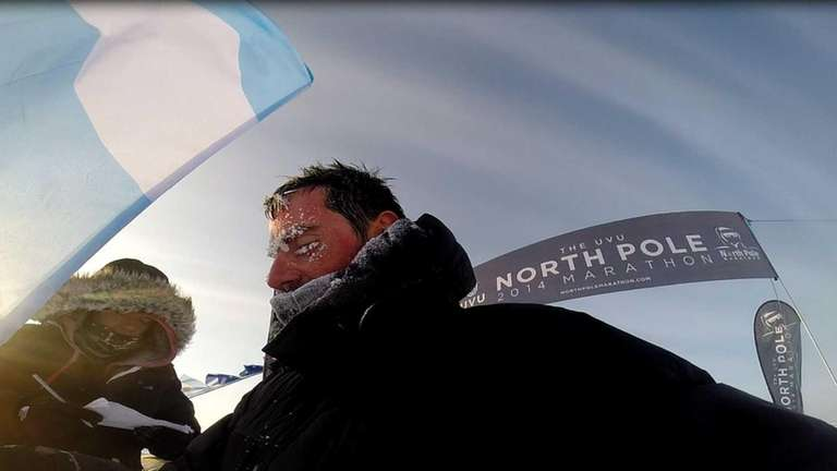 A selfie of Claudio Gonzalez at the finish
