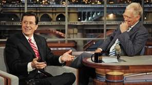 "Stephen Colbert, left, host of the ""Colbert Report"""