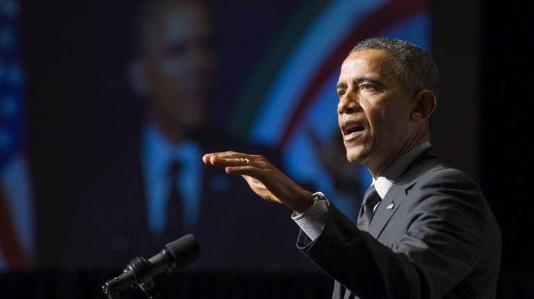 President Barack Obama address the National Action Network