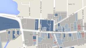 Map of downtown Patchogue.
