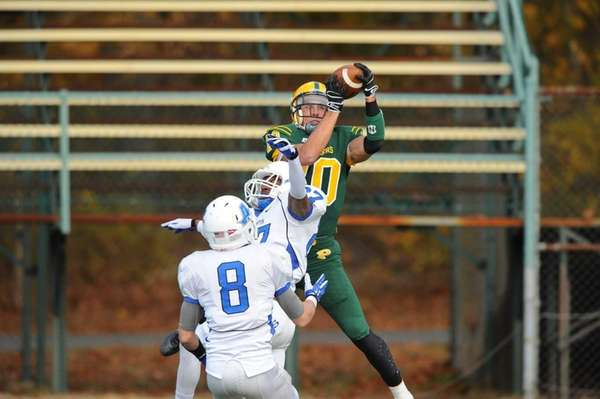 LIU-Post College football player Joe Botti jumps for