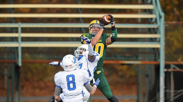 LIU-Post College football player Joe Botti jumps for