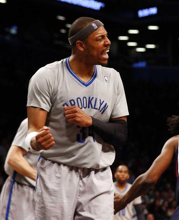 Paul Pierce #34 of the Brooklyn Nets reacts