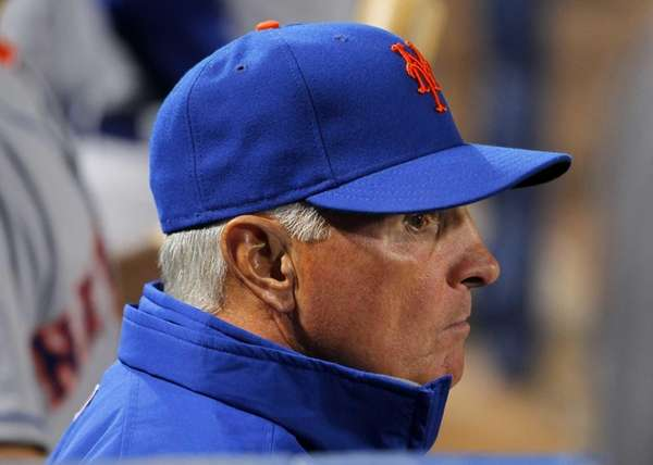 New York Mets manager Terry Collins watches from