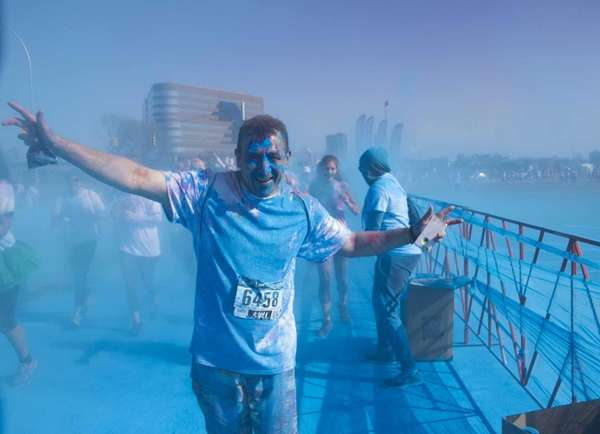 Runners were covered in colored powder at the