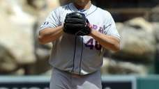 Bartolo Colon reacts after allowing a one-run home