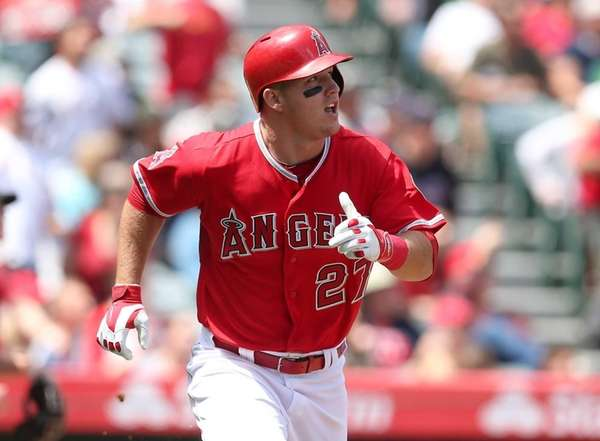 Mike Trout #27 of the Los Angeles Angels