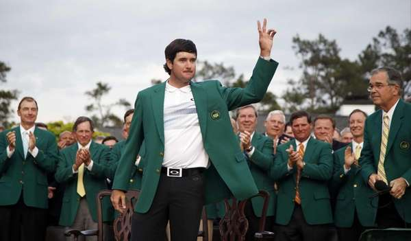 Bubba Watson waves after being presented with his