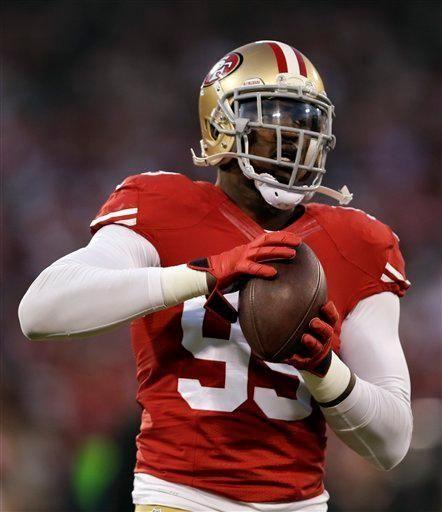 San Francisco 49ers linebacker Aldon Smith warms up