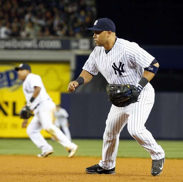Carlos Beltran plays first base in the fifth