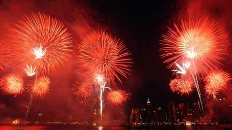 Fireworks over the East River on July 4,