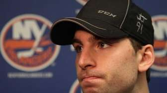 John Tavares speaks to reporters about the season