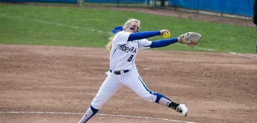 Hofstra softball pitcher Morgan Lashley delivers a pitch.