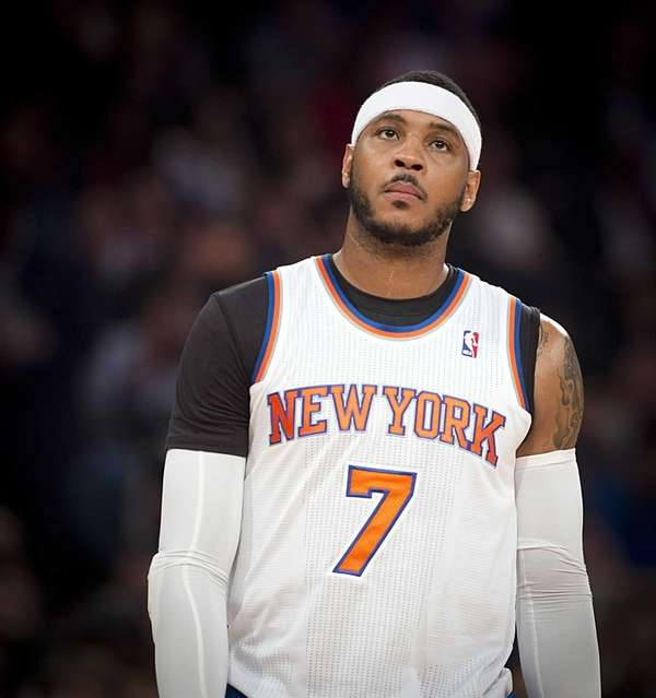 Carmelo Anthony looks on during the third quarter