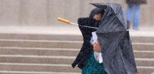 An umbrella was of little help to one