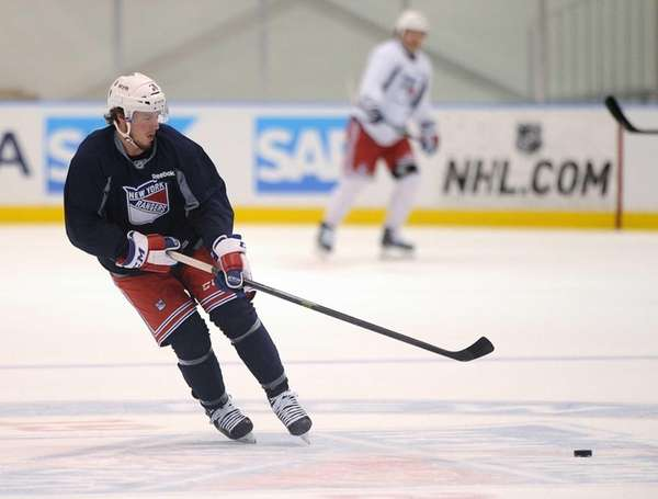 J. T. Miller skates during practice on Tuesday,