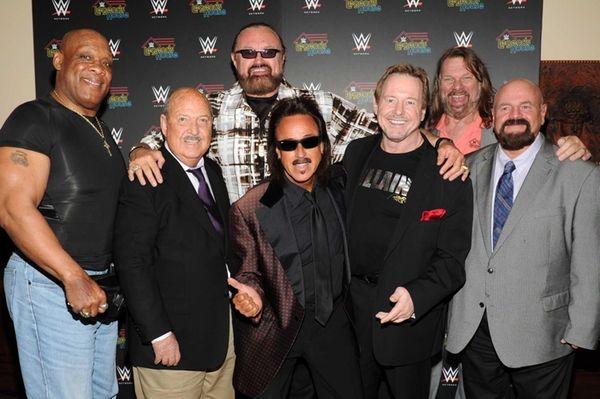 From left, cast members Tony Atlas, Gene Okerlund,