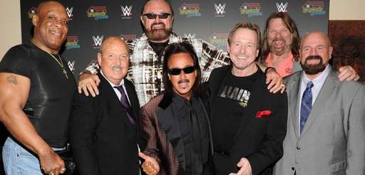 From left, cast members Tony Atlas, Gene Okerlund,