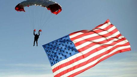 A member of the All Veterans Parachute Team