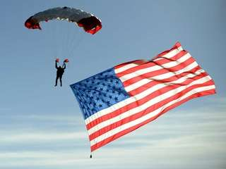 A member of the All Veterans Parachute Team