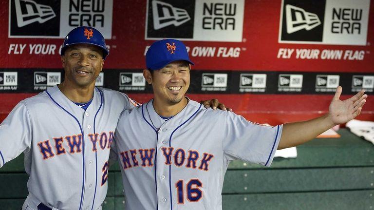 Pitcher Daisuke Matsuzaka, right, of the Mets poses
