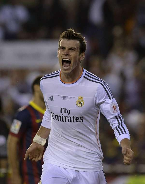 Real Madrid forward Gareth Bale celebrates after scoring