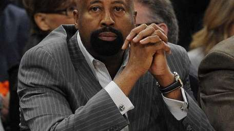 Knicks head coach Mike Woodson is seen on