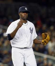 Michael Pineda of the Yankees reacts after the