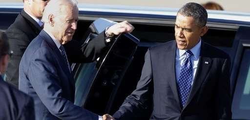Vice President Joe Biden greets President Barack Obama