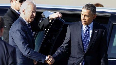 Vice President Joe Biden greets President Barack Obama