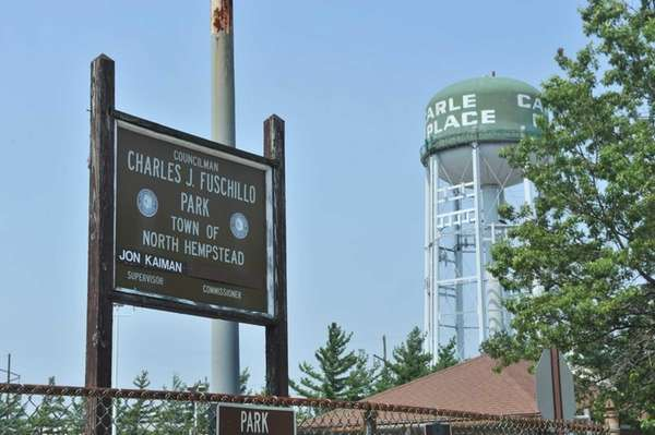 The Carle Place Water District's water tower is