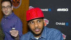 Carmelo Anthony speaks with the media at the
