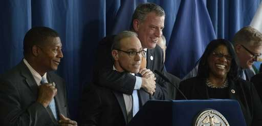 Mayor Bill de Blasio jokingly restrains Staten Island