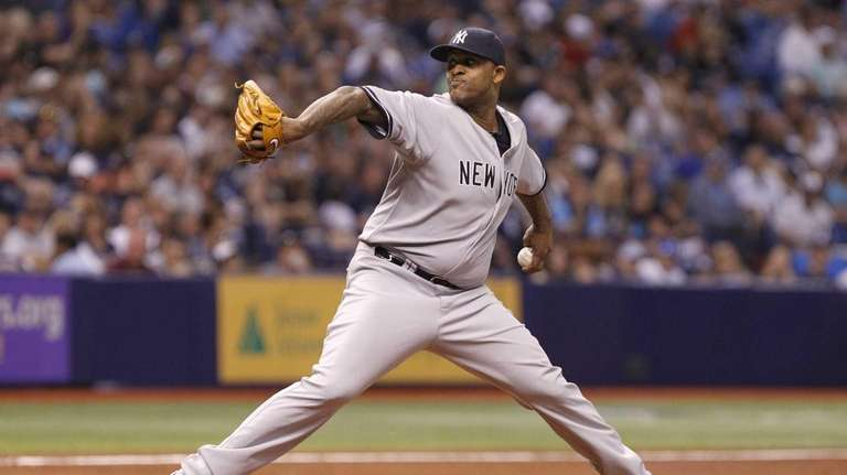 CC Sabathia of theYankees pitches during the second