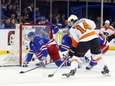 Ryan McDonagh of the Rangers defends the net