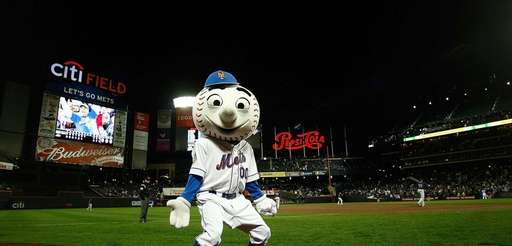 Mr. Met during an exhibition game between the